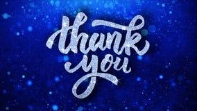 Tacka dig som blå text önskar partikelhälsningar, inbjudan, berömbakgrund royaltyfri illustrationer