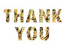 Tacka dig, svarta bokstäver med guld- sidor stock illustrationer