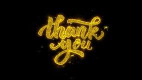 Tacka dig typografi som är skriftlig med guld- partikelgnistafyrverkerier lager videofilmer