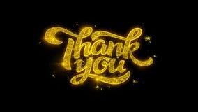 Tacka dig typografi som är skriftlig med guld- partikelgnistafyrverkerier stock video