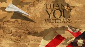Tacka dig veteran USA-flagga för pappers- flygplan royaltyfria bilder