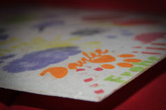 ` Tackar ` och olika färgrika symboler Arkivfoton