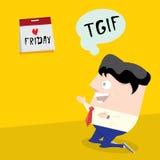 Tackguden är det det fredag begreppet Jag älskar friday stock illustrationer