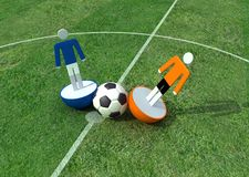 Tackle. Virtual player in a soccer field -3d rendering Stock Image