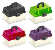 Tackle box. Es in four different color royalty free illustration
