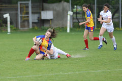 Tackle during female rugby game Stock Photos
