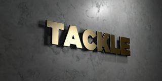 Tackle - Gold sign mounted on glossy marble wall  - 3D rendered royalty free stock illustration. This image can be used for an online website banner ad or a Stock Photo