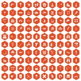 100 tackle icons hexagon orange. 100 tackle icons set in orange hexagon isolated vector illustration Stock Images