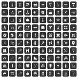 100 tackle icons set black. 100 tackle icons set in black color isolated vector illustration Royalty Free Stock Images
