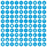 100 tackle icons set blue. 100 tackle icons set in blue hexagon isolated vector illustration stock illustration