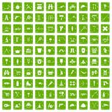 100 tackle icons set grunge green. 100 tackle icons set in grunge style green color isolated on white background vector illustration stock illustration
