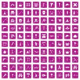 100 tackle icons set grunge pink. 100 tackle icons set in grunge style pink color isolated on white background vector illustration Stock Image