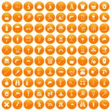 100 tackle icons set orange. 100 tackle icons set in orange circle isolated vector illustration royalty free illustration
