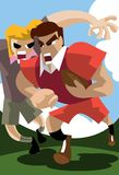 Tackle And Rugby. An image of a rugby player running with the ball while another is trying to tackle him vector illustration