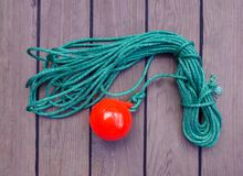 Tackle to facilitate the supply of the mooring cable to the shor royalty free stock photo