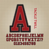 Tackle Twill Alphabet and Numbers Vector. Set of Tackle Twill Alphabet and Numbers Vector Stock Photo