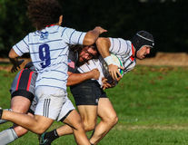Tackled From Behind. Rugby players in action at the park in Redding, California Stock Photography