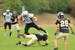 Tackled Jacob Shrum - american football. The tackled Jacob Shrum in the final of czech american football league match between Prague Black wings (winners) and Stock Image