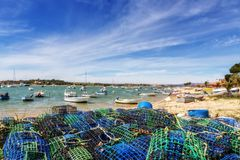 Tackles and traps of fishermen for catching shellfish and fish. In the town of Alvor Algarve. Stock Images