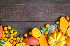 Tacksägelse Autumn Background, variation av orange frukter och grönsaker på mörk träbakgrund med fritt utrymme för text Fotografering för Bildbyråer