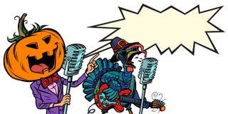 Tacksägelse- och allhelgonaaftonmusikfestival Pumpa och Turkiet vektor illustrationer