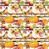 Tacksägelse som upprepar modellen - fåglar, frukter, grönsaker - pumpa, äpplen, druva med höstsidor Tappning stock illustrationer