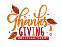 Tacksägelsedag som önskar vektordesignbegrepp med röda sidor royaltyfri foto