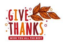 Tacksägelsedag som önskar vektordesignbegrepp med röda sidor royaltyfria foton