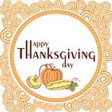Tacksägelsedagaffisch med virvlar och grönsaker Royaltyfri Foto
