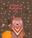 Tacksägelsedagbakgrund med björnen Tacksägelsepartiaffisch Tacksägelsefest Arkivbild