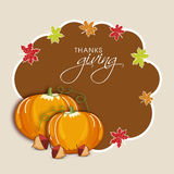 Tacksägelsedagberöm med den stilfulla ramen Arkivfoton