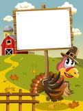 Tacksägelsedagen vallfärdar det tomma träbanret för kalkon stock illustrationer
