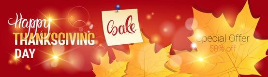 TacksägelsedagSale Autumn Traditional Holiday Shopping Discount säsongsbetonat pris av baner royaltyfri illustrationer