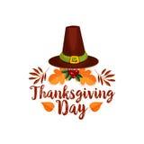 Tacksägelsedagsymbolen av vallfärdar hatten, höstblad Arkivbild