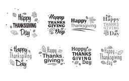 Tacksägelsedagtypografi 8 höst eps isolerade leavesvektorwhite Hand dragen lycklig tacksägelsedagbakgrund Arkivbilder