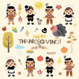 Tacksägelsedesignbeståndsdelar stock illustrationer