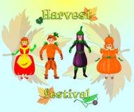Tacksägelsefest för barn och vuxna människor royaltyfri illustrationer