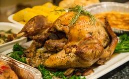 Tacksägelsefestmåltiden med kalkon och mosar potatos Arkivbild