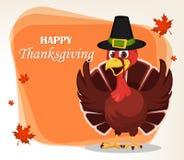 Tacksägelsehälsningkort med en kalkonfågel som bär en vallfärda royaltyfri illustrationer