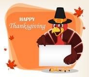 Tacksägelsehälsningkort med en kalkonfågel som bär en vallfärda vektor illustrationer