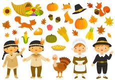 Tacksägelseillustrationuppsättning stock illustrationer