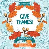 Tacksägelsekortmall Arkivfoto