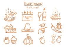 Tacksägelselinje symbolsuppsättning stock illustrationer