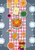 Tacksägelsemål på tabellen Tacksägelsehälsningkort i plan stildesign stock illustrationer