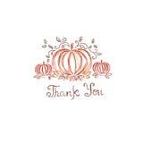 Tacksägelsen skissar, handteckningen, vektorn, illustration Arkivbild
