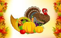 Tacksägelseymnighetshorn med Turkiet stock illustrationer