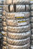 Tacks of new packed tires Stock Photo