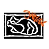 Tacksam hand tillverkat emblem Djärv dragen kalkon vektor illustrationer