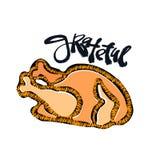 Tacksam hand tillverkat emblem Djärv dragen kalkon stock illustrationer
