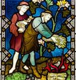 Tacksägelsefestmålat glassfönster Arkivfoto